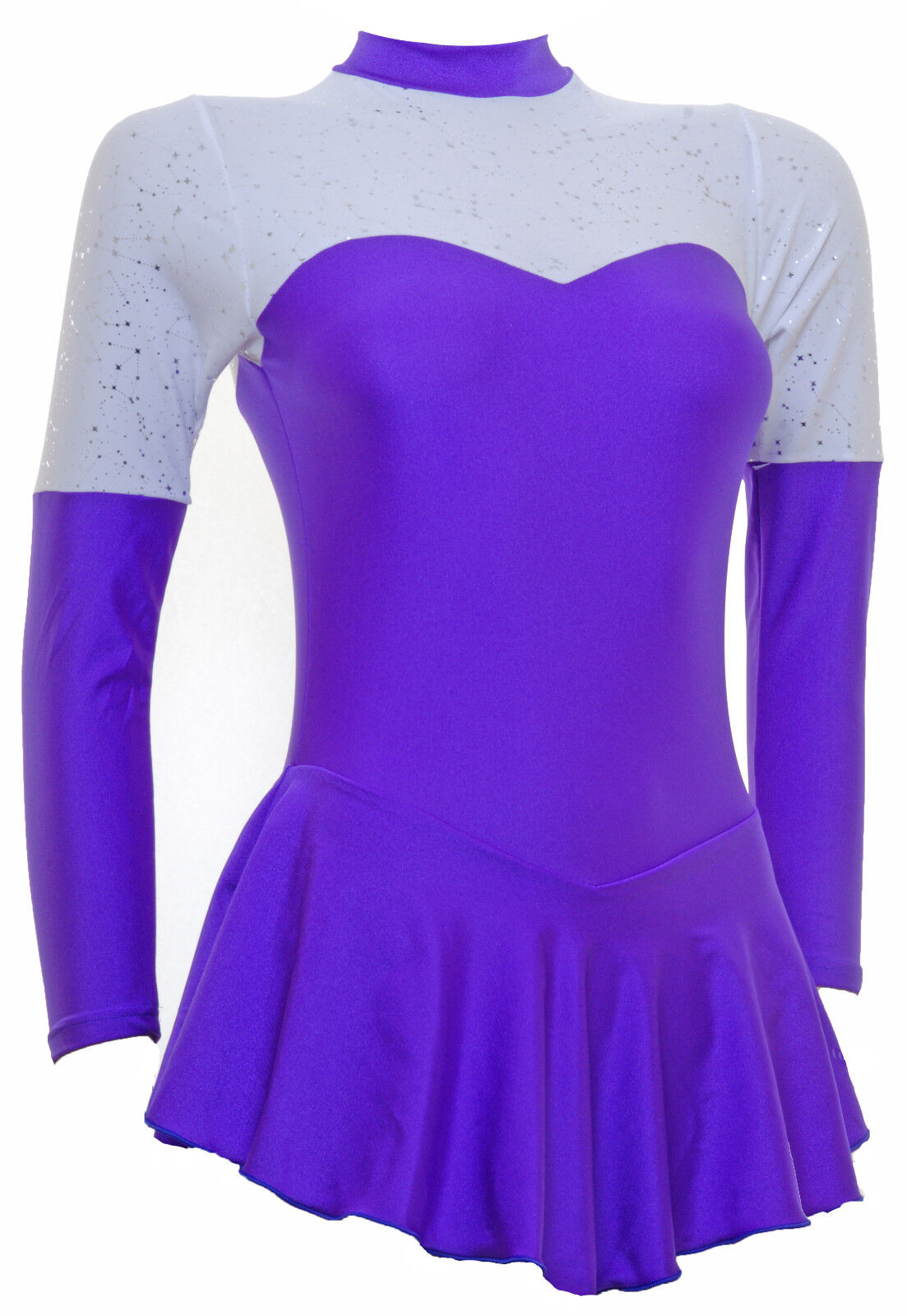 Skating Dress -PURPLE LYCRA WHITE Con -LONG SLEEVE ALL SIZES AVAILABLE