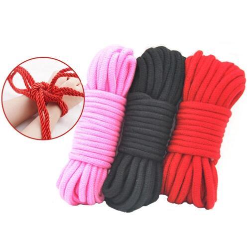 Shibari Soft Bondage Rope 10metres Pink Red or Black 100/% Cotton Tie /& Tease Fun
