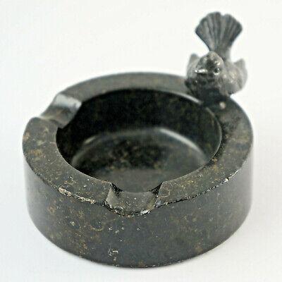 d5 Generous Small Metall-vogel On Marmor-ascher With Filzboden Ø 8,5 Cm.