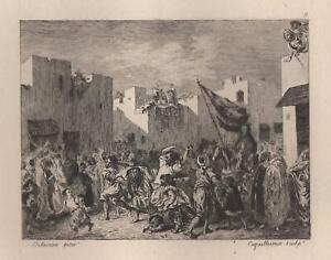 Maroc-Eugene-Delacroix-Convulsionnaires-de-Tanger-Eau-Forte-Auguste-Laguillermie