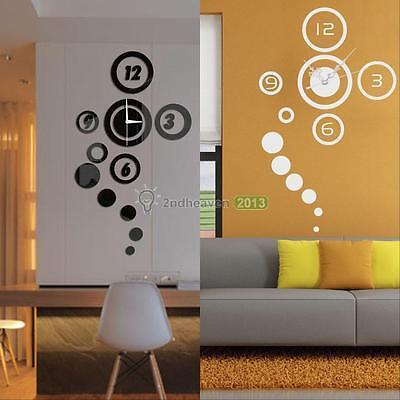 DIY 3D Home Modern Decoration Living Room Bedroom Mirror Surface Wall Clock