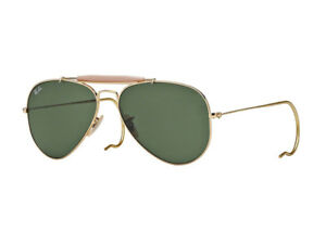 Occhiali-da-Sole-Ray-Ban-oro-aviator-goccia-RB3030-OUTDOORSMAN-verde-g15-L0216