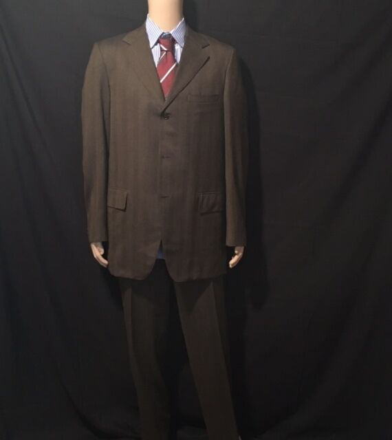 J.Press Braun Plaid Suit Three Button Single Vent 38L Flat Front No Cuff 38W 32L