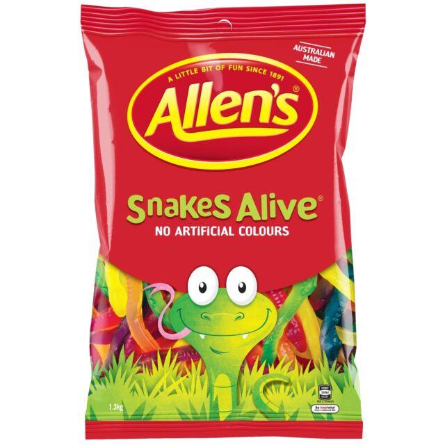 Allens Snakes Alive 1.3kg Pack Bulk Bag Lollies Candy