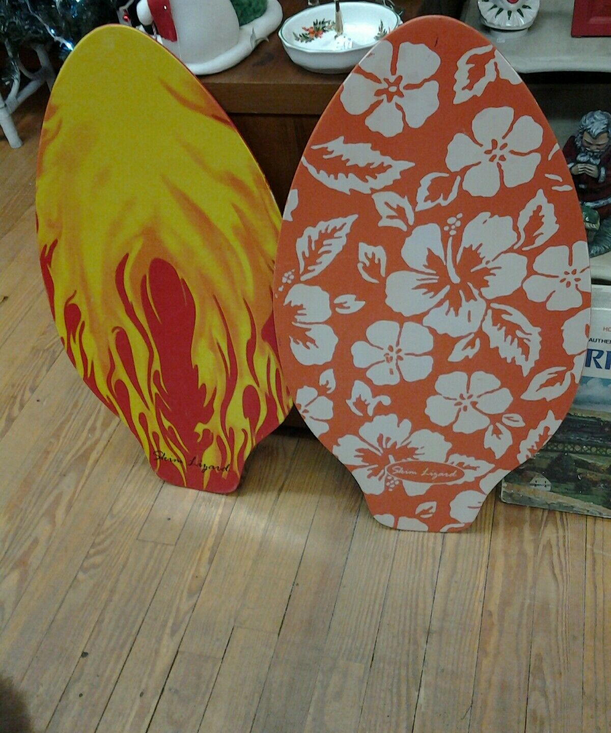 Lot of 2 Skim Boards Flames and Flowered