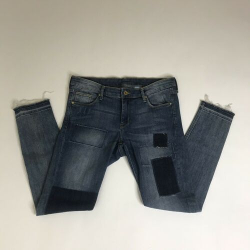 Patch Basse Frange Taille Skinny 32 Taille m Cheville Jeans Crop Femme H qaA11v