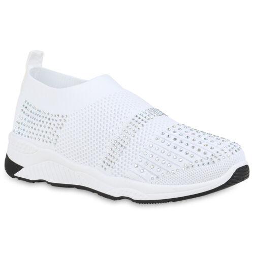 Damen Slip On Sportschuhe Fitness Sneaker Strass Turnschuhe Strick 899315 Mode