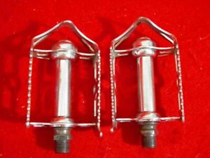 Vintage-Raleigh-Quill-Pedal-Pedals-Chrome-Steel-England-Road-Used