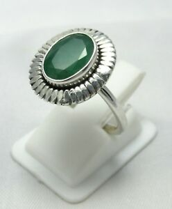 Natural-Emerald-925-Sterling-Silver-Ring-Size-US-6-3-4-Gemstone-Ring-R0105