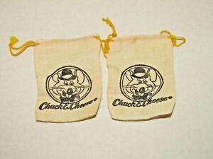 Vintage-Chuck-E-Cheese-monnaie-sacs-toile-de-jute-avec-cordon-de-serrage-Souris-Set-de-2-annees-1970