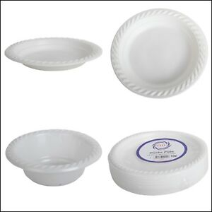 Plastic-White-Disposable-Plates-and-Bowl-Dishes-Pack-of-100-Christmas-Party-dish