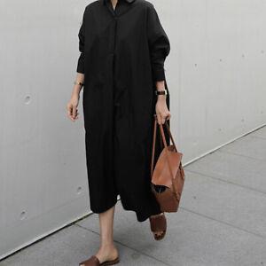 ZANZEA Damen Baumwolle Unifarben Shirtkleid Oversize Hemd Kleid Kragen Maxikleid