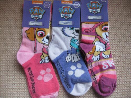 6-8.5 3 tailles filles Paw Patrol chaussettes Pack de 3 12.5-2 9-12