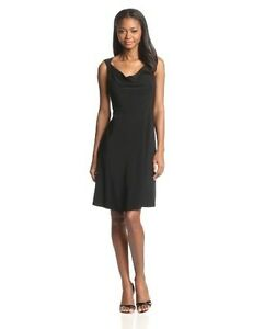 Black-Label-by-Evan-Picone-Jersey-Cowl-Neck-Dress-Sizes-10-color-Black