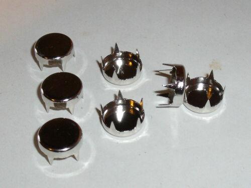 50 Stück Ziernieten Krallennieten Nieten rund-flach 12 mm silber NEU rostfrei