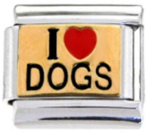 DOG-LOVER-I-LOVE-DOGS-Enamel-Italian-Charm-9mm-1-x-DG001-Single-Bracelet-Link