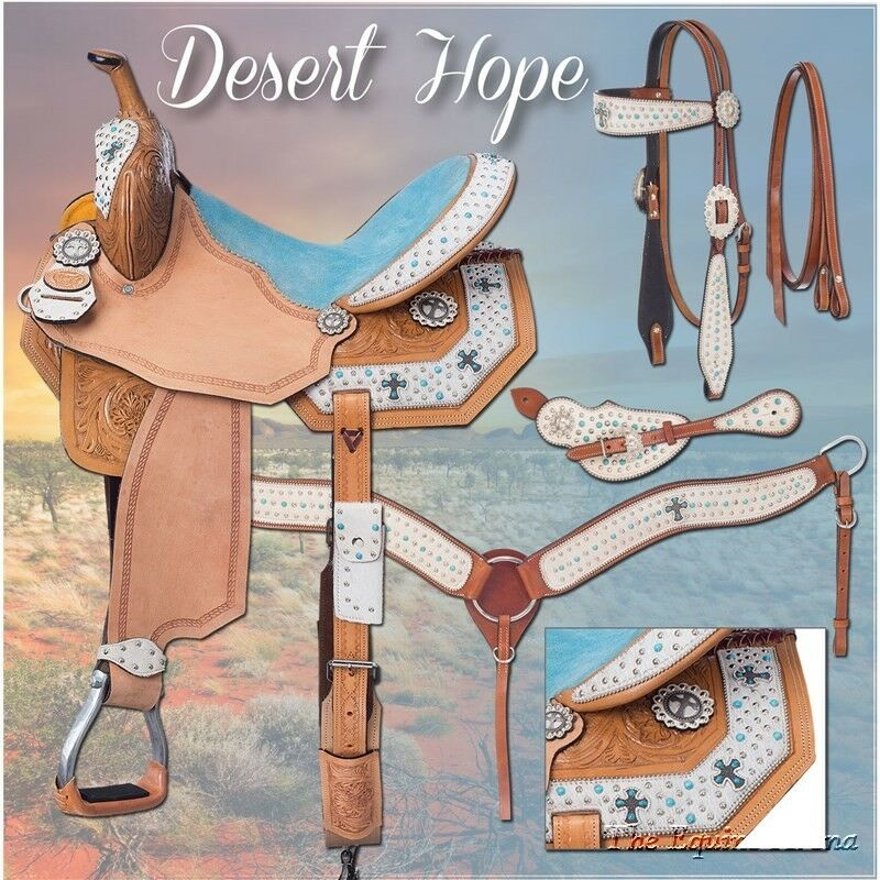 15 pulgadas de cañón occidental silla Pkg-desierto esperanza Motiff-Pelo blancoo-azul Suede
