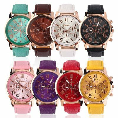 Fashion Women Ladies leather Stainless Analog Quartz Analog Wrist Watch Hot BS