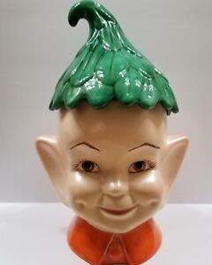 Vintage Pixie Elf Ceramic Cookie Jar With Salt & Pepper