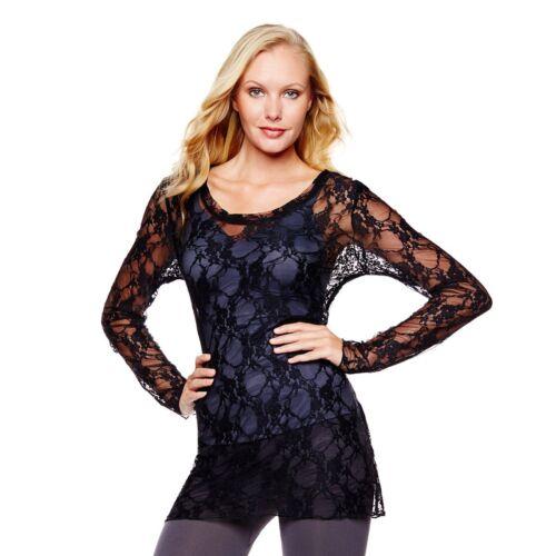 Rhonda Shear Long-Sleeve Lace Top 224636 $15