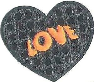 """3"""" Black Disco dot Love Heart Embroidery Patch"""