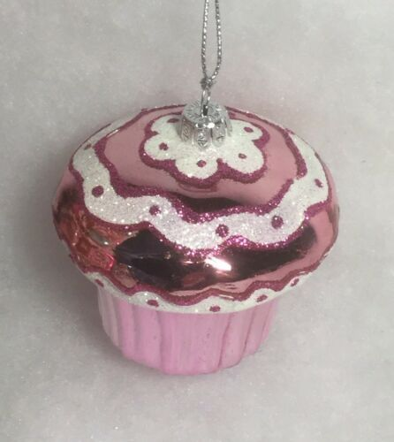 sweets bakery decorated Hot Pink Cupcake Christmas Tree Ornament mica