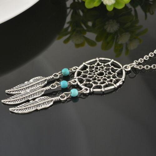 PD:Damen Vintage Halskette Halsschmuck Charm Traumfänger Anhänger Blätter Türkis