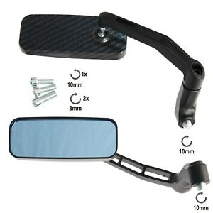 Coppia-Specchietti-Retrovisori-Specchi-Moto-Scooter-Custom-Carbonio-Metallo