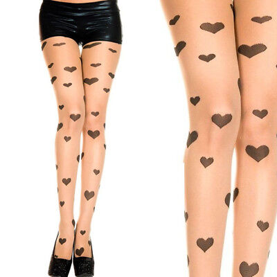 Sheer Beige Nude Pantyhose Multi Hearts Polka Dot Faux