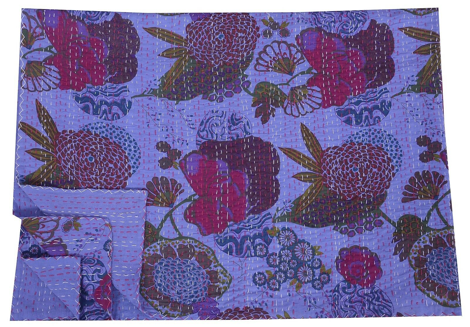 Indian Floral Print Kantha Quilt Bedspread Cotton Throw Twin Size Gudari Decor