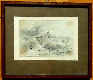Original-Bleistiftzeichnung Landschaft mit Mühle,bei Grünwald
