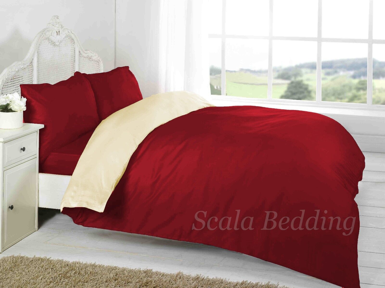 4 PC Reversible Solid Duvet Cover with Fitted Sheet 800 TC 100% Egyptian Cotton