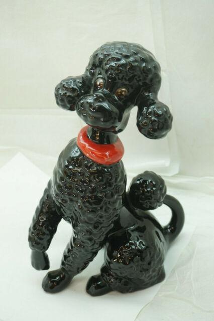 Vintage Poodle Figurine Black Standard Dog Large 10in Signed Kay 1950s Pottery Ebay