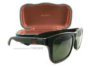1ee2204af466f New Gucci Sunglasses GG0008S Black Green 001 Authentic 889652047461 ...
