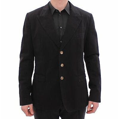 NWT $1200 DOLCE & GABBANA Blazer Jacket Black Three Button Slim Fit IT54/US44/XL