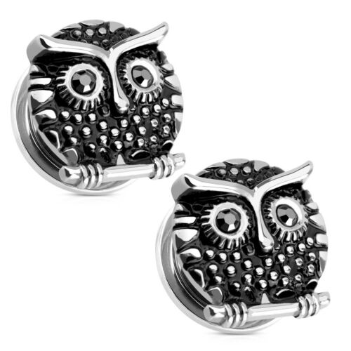 Pair of Ear PlugsTunnels Screw Fit Owl Design With Cubic Zirconia