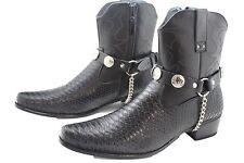 Men Biker Silver Metal Chain Pair Black Boot Boots Straps Animal Buffalo Charm