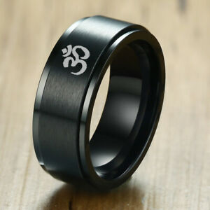 Stress Relief Rotary Spinner Band Men Ring Aum Om
