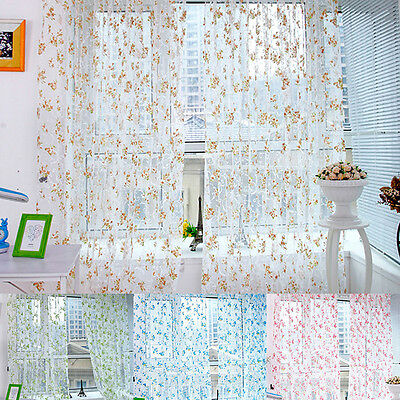 5 Colors Floral Tulle Voile Door Window Curtain Drape Panel Scarf Sheer Valances