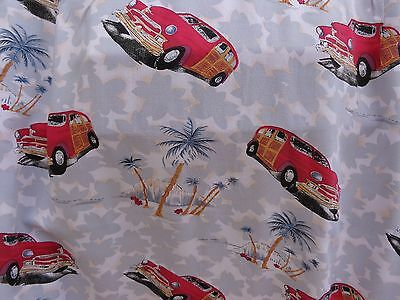 Men's PINEAPPLE CONNECTION L Hawaiian Vintage Cuba Style Vintage Cars & Palm