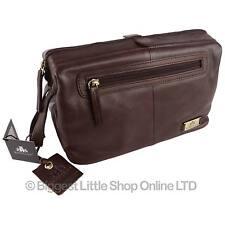 Mens Rowallan Vintage Buffalo Large Leather Wash Bag Travel Toiletries Cognac