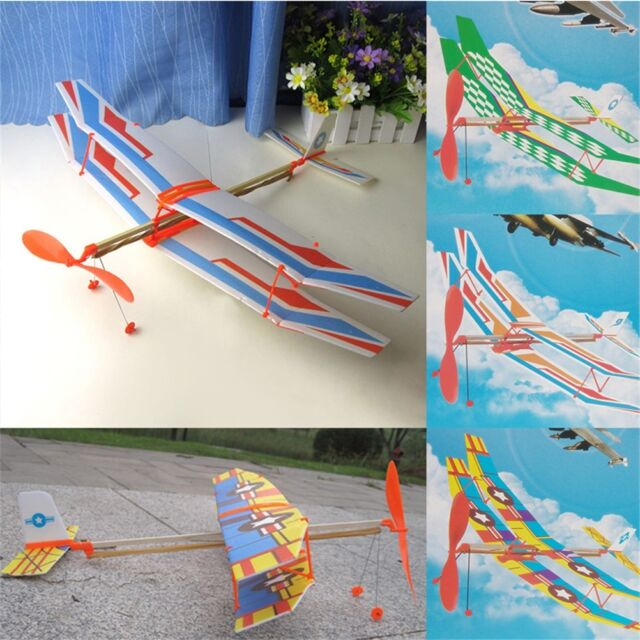 Rubber Band Elastic Powered Aircraft Glider Flying Plane Airplane DIY Kids~er
