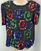 Womens Lawrence Kazar Beaded Sequined Blouse Size Black