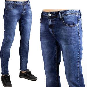 Jeans Pantaloni Denim Blu Scuro Slim Uomo Elasticizzati Morbidi Comodi Sfumato
