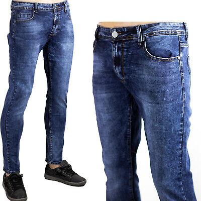 Jeans Uomo Blu Scuro Pantaloni Morbidi Elasticizzati Denim Slim Fit Sdrucito