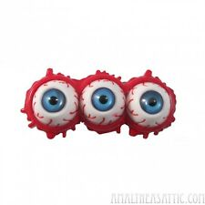 Triple Eyeball Blood Splatter Hair Slide Barrette Clip Horror Creepy Clip Blue