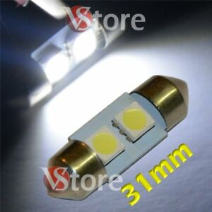 2-LED-Siluro-31mm-2SMD-Lampade-Luci-Xenon-Lampadine-BIANCO-Interno-Targa