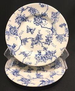 Churchill-Queen-039-s-Blue-Toile-du-Jouy-6-3-4-034-Salad-Dessert-Plates-Set-of-2