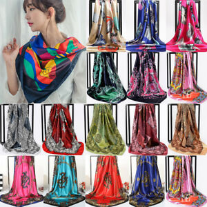 Women-039-s-Printed-Satin-Silk-Scarf-Square-Stole-Shawl-Head-Neck-Wraps-Turban-Lot