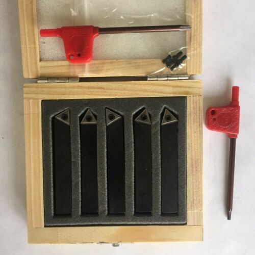 """5 Pc Indexable Carbide Turing Tool Set 3//8/"""" Shank NEW"""